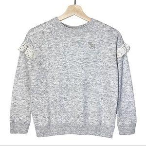 Abercrombie Kids Pullover Sweatshirt Lace Ruffle Shoulder Gray Girls' Size 9/10